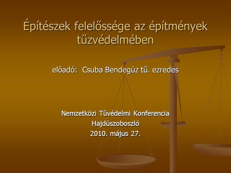 Építészek felelőssége az építmények tűzvédelmében előadó: Csuba Bendegúz tű. ezredes Nemzetközi Tűvédelmi Konferencia Hajdúszoboszló 2010. május 27.