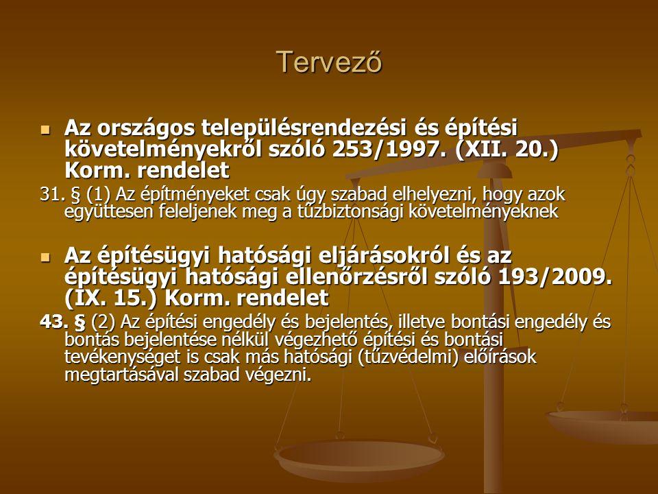 Tervező  Az országos településrendezési és építési követelményekről szóló 253/1997. (XII. 20.) Korm. rendelet 31. § (1) Az építményeket csak úgy szab