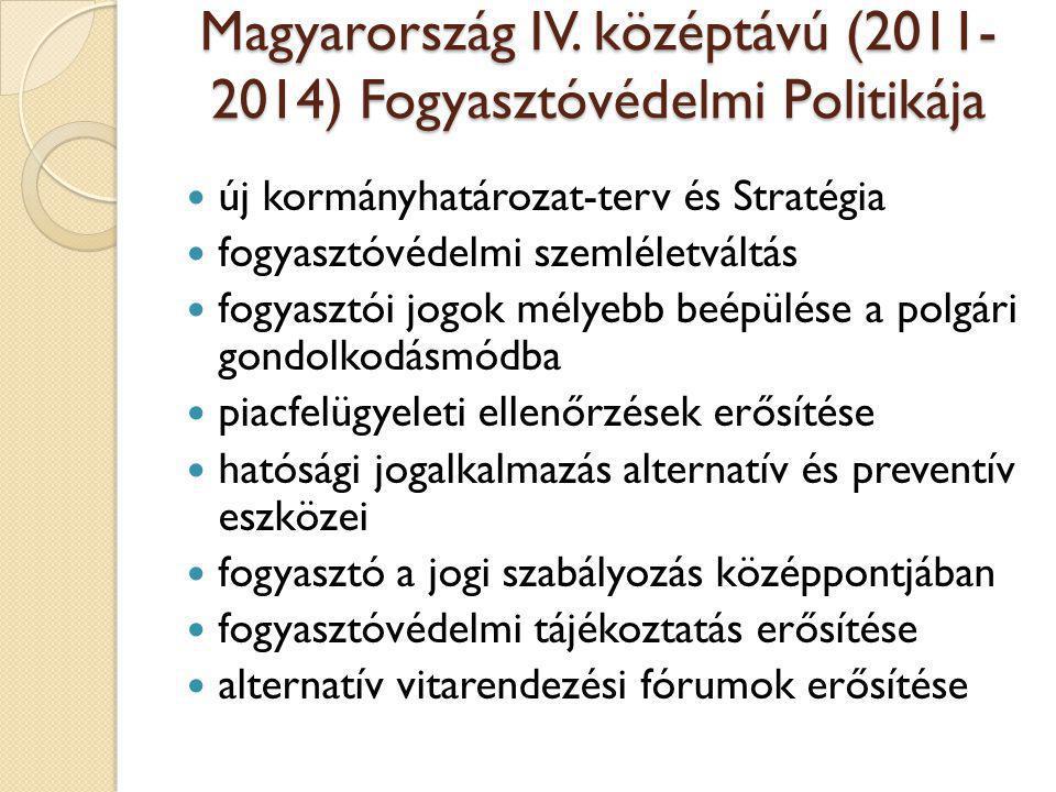 Magyarország IV. középtávú (2011- 2014) Fogyasztóvédelmi Politikája  új kormányhatározat-terv és Stratégia  fogyasztóvédelmi szemléletváltás  fogya