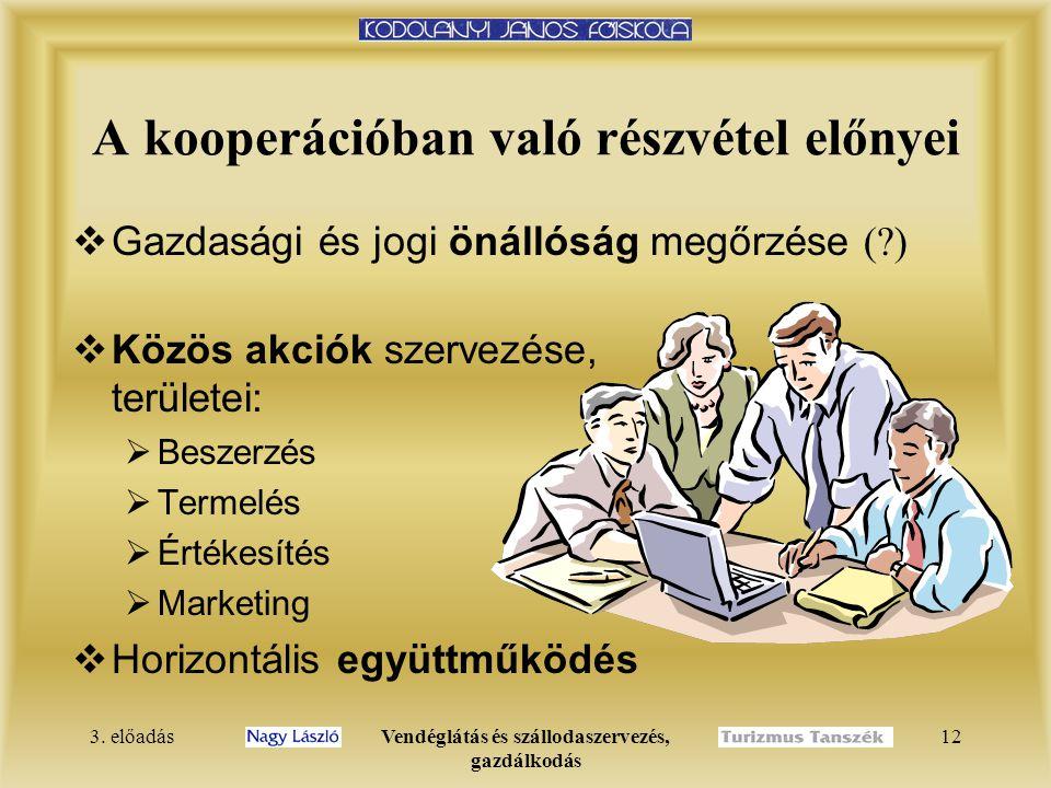 3. előadásVendéglátás és szállodaszervezés, gazdálkodás 12 A kooperációban való részvétel előnyei  Gazdasági és jogi önállóság megőrzése (?)  Közös