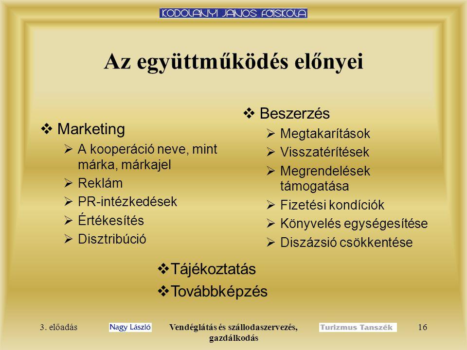 3. előadásVendéglátás és szállodaszervezés, gazdálkodás 16 Az együttműködés előnyei  Marketing  A kooperáció neve, mint márka, márkajel  Reklám  P