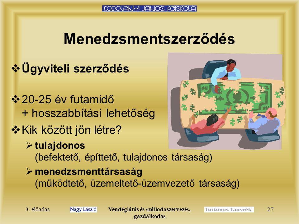 3. előadásVendéglátás és szállodaszervezés, gazdálkodás 27 Menedzsmentszerződés  Ügyviteli szerződés  20-25 év futamidő + hosszabbítási lehetőség 