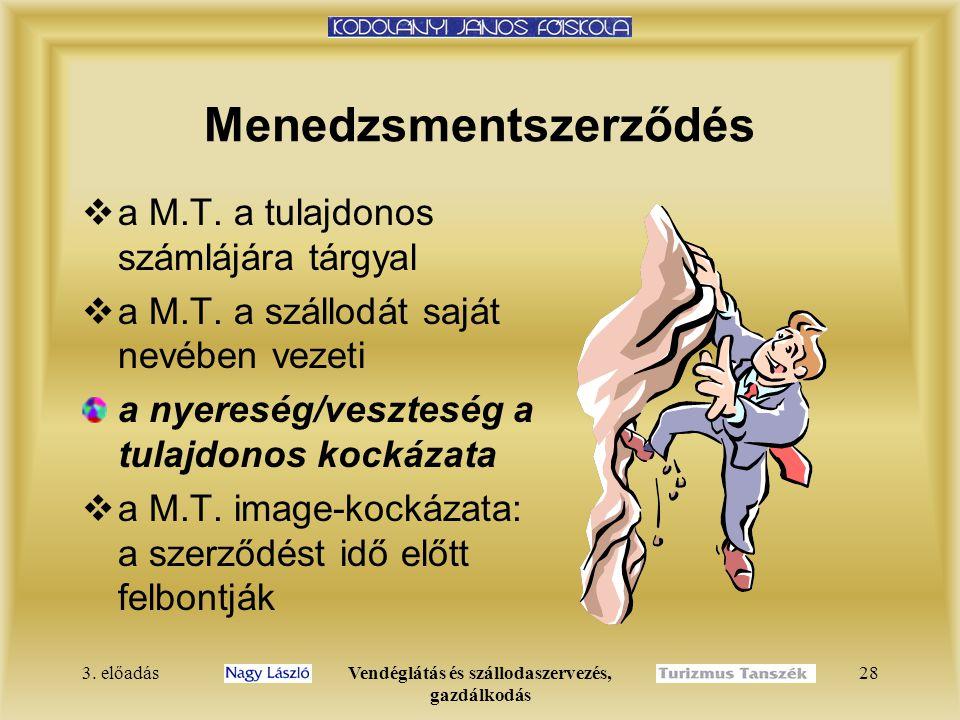 3.előadásVendéglátás és szállodaszervezés, gazdálkodás 28  a M.T.