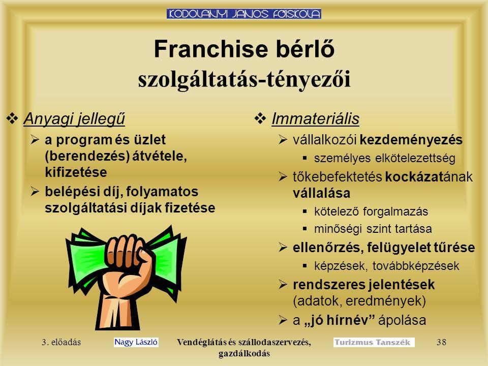 3. előadásVendéglátás és szállodaszervezés, gazdálkodás 38 Franchise bérlő szolgáltatás-tényezői  Anyagi jellegű  a program és üzlet (berendezés) át