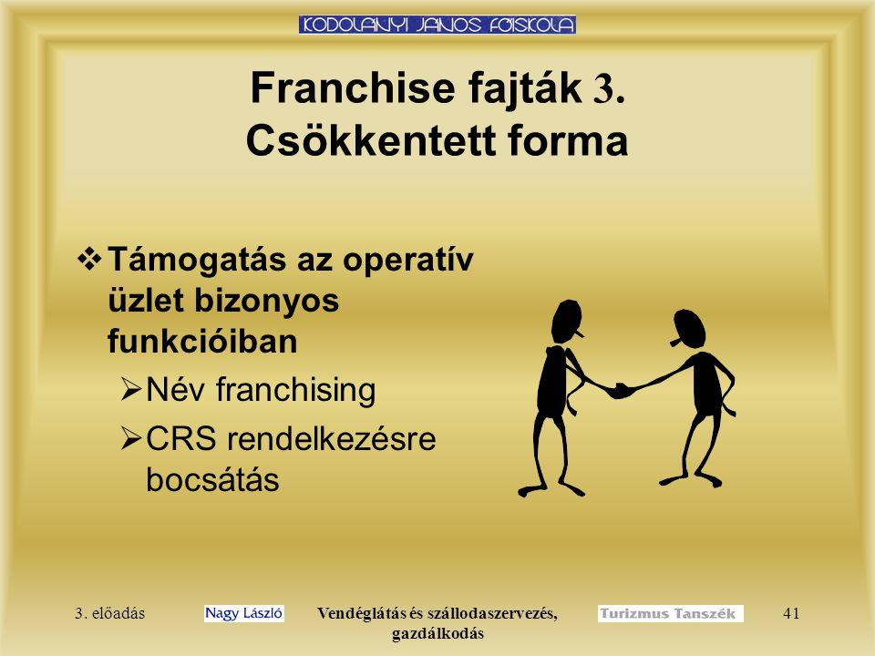 3. előadásVendéglátás és szállodaszervezés, gazdálkodás 41 Franchise fajták 3. Csökkentett forma  Támogatás az operatív üzlet bizonyos funkcióiban 