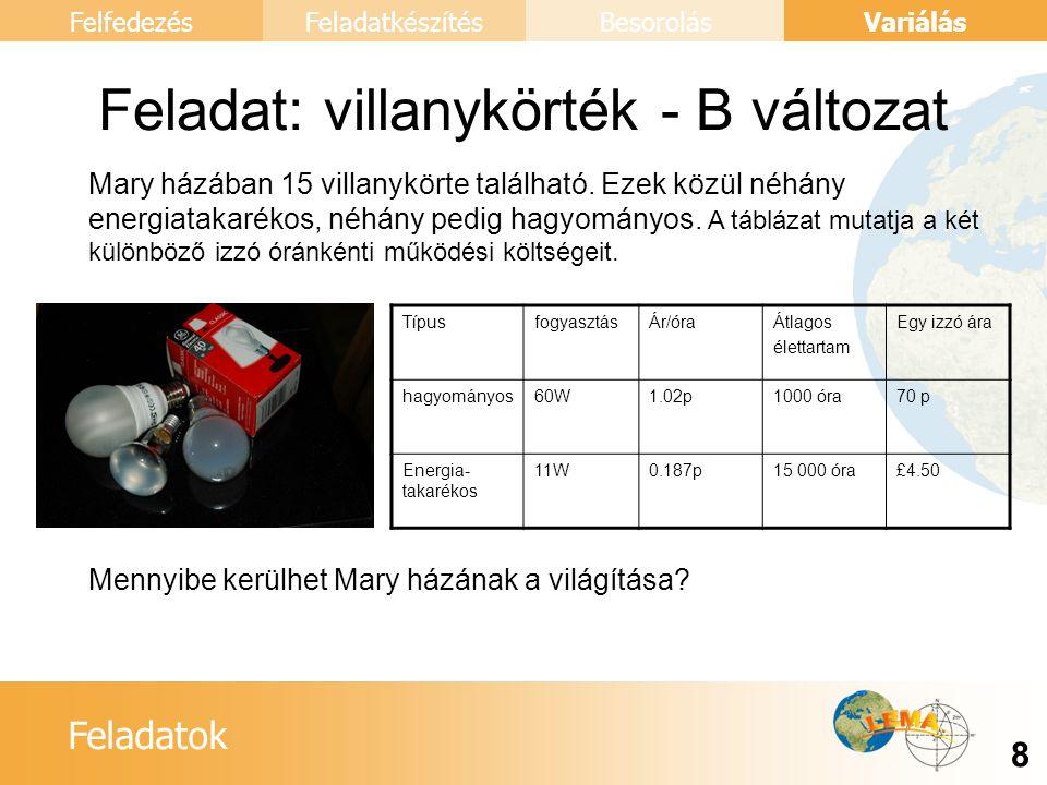 Feladatok Variálás 9 FelfedezésFeladatkészítésBesorolás Feladat: villanykörték - C változat Mennyit tudunk megtakarítani ha otthonunkban energiatakarékos izzókat használunk.