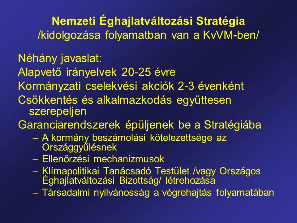 Nemzeti Éghajlatváltozási Stratégia /kidolgozása folyamatban van a KvVM-ben/ Néhány javaslat: Alapvető irányelvek 20-25 évre Kormányzati cselekvési akciók 2-3 évenként Csökkentés és alkalmazkodás együttesen szerepeljen Garanciarendszerek épüljenek be a Stratégiába –A kormány beszámolási kötelezettsége az Országgyűlésnek –Ellenőrzési mechanizmusok –Klímapolitikai Tanácsadó Testület /vagy Országos Éghajlatváltozási Bizottság/ létrehozása –Társadalmi nyilvánosság a végrehajtás folyamatában