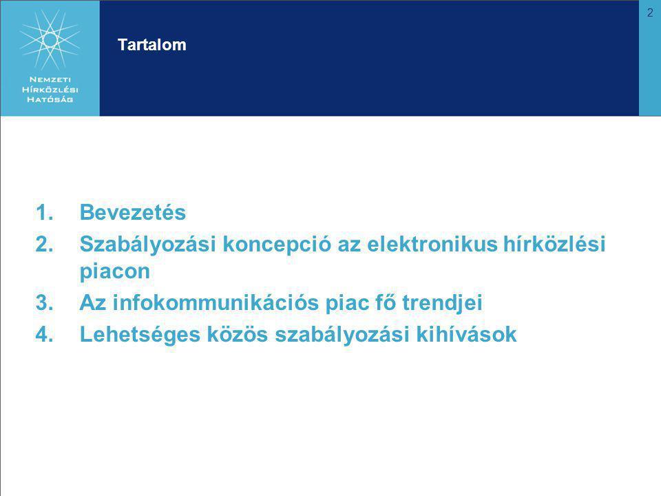 2 Tartalom 1.Bevezetés 2.Szabályozási koncepció az elektronikus hírközlési piacon 3.Az infokommunikációs piac fő trendjei 4.Lehetséges közös szabályozási kihívások