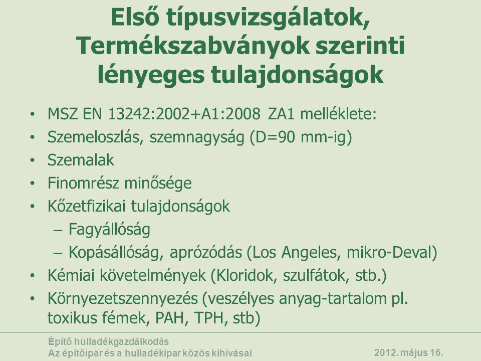 Első típusvizsgálatok, Termékszabványok szerinti lényeges tulajdonságok • MSZ EN 13242:2002+A1:2008 ZA1 melléklete: • Szemeloszlás, szemnagyság (D=90
