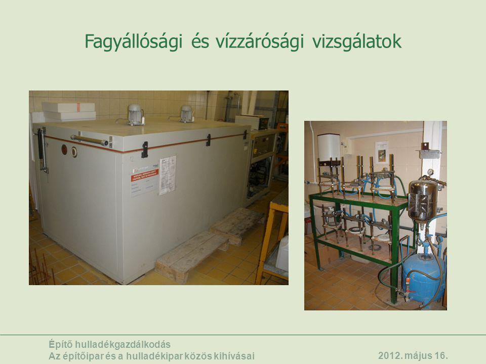 Fagyállósági és vízzárósági vizsgálatok Építő hulladékgazdálkodás Az építőipar és a hulladékipar közös kihívásai 2012. május 16.