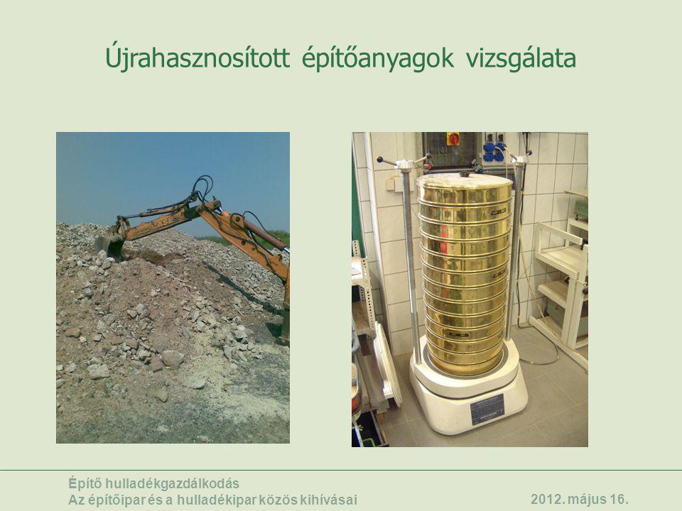 Újrahasznosított építőanyagok vizsgálata Építő hulladékgazdálkodás Az építőipar és a hulladékipar közös kihívásai 2012. május 16.