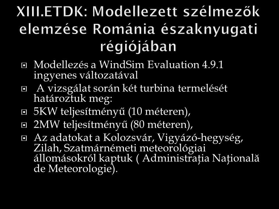  Modellezés a WindSim Evaluation 4.9.1 ingyenes változatával  A vizsgálat során két turbina termelését határoztuk meg:  5KW teljesítményű (10 méteren),  2MW teljesítményű (80 méteren),  Az adatokat a Kolozsvár, Vigyázó-hegység, Zilah, Szatmárnémeti meteorológiai állomásokról kaptuk ( Administraţia Naţional ă de Meteorologie).