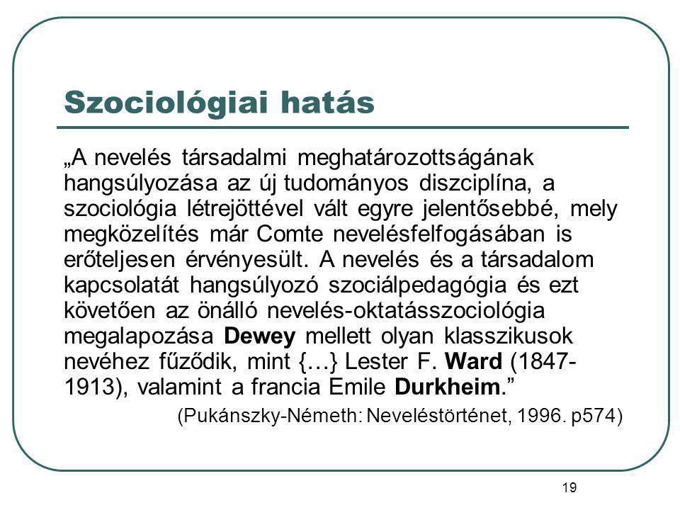 20 Paul Bergemann (1862-1946) A szociológiai szempontokra alapozott pedagógia első jelentős német képviselője Koncepciójának kiindulópontja - Comte, Spencer és Durkheim felfogására alapozva - az emberi társadalom egyénre gyakorolt hatásának hangsúlyozása: az egyén mint társas lény, csak a társadalmi közösség által válhat teljes emberré.