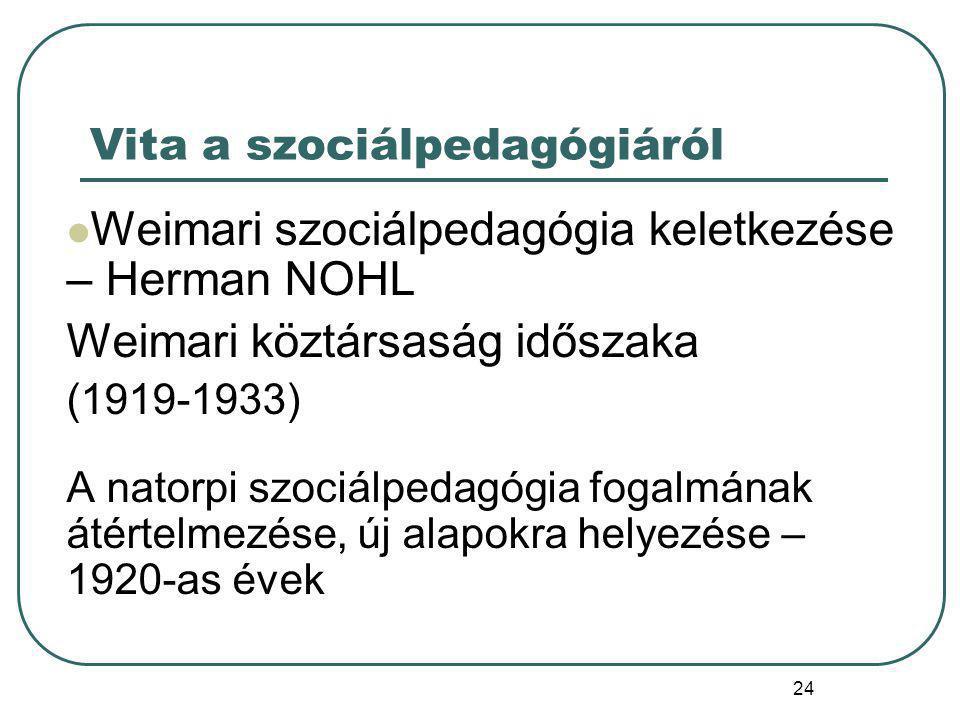 25 Szociálpedagógiai nézetek a weimari köztársaság idején NATORP Szocped= pedagógia általános felfogása Nevelés csak társ-i környezetben Állam-ellenesség (közösség általi nevelés) NOHL Szocped= a pedagógia egy része; ami nevelés, de nem iskola és nem család Társ.i környezet a szocpol területe – szocped: egyén támogatása, hogy önmagán segítsen Cél: ifjúsági jóléti gondozás kivonása az egyház kezéből – állam szerepe.