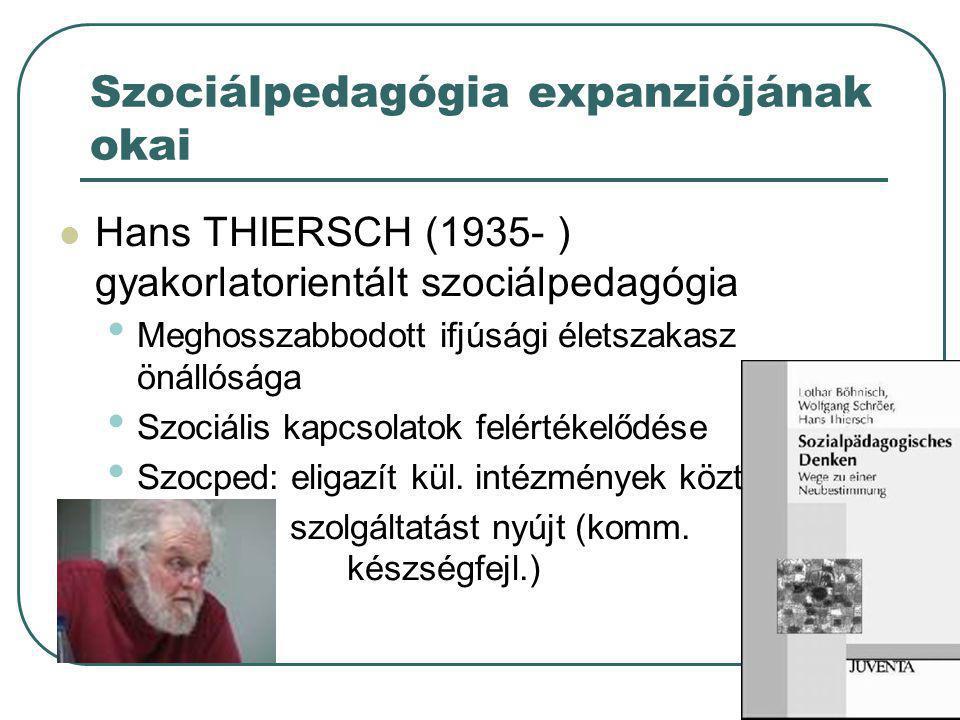 33 Modern szociálpedagógia Szélesebb klientúra : • keményebb szociálpedagógia A hagyományos (hh) klienseknek • puha szociálpedagógia Újonnan megjelent rétegek tagjainak (pl.