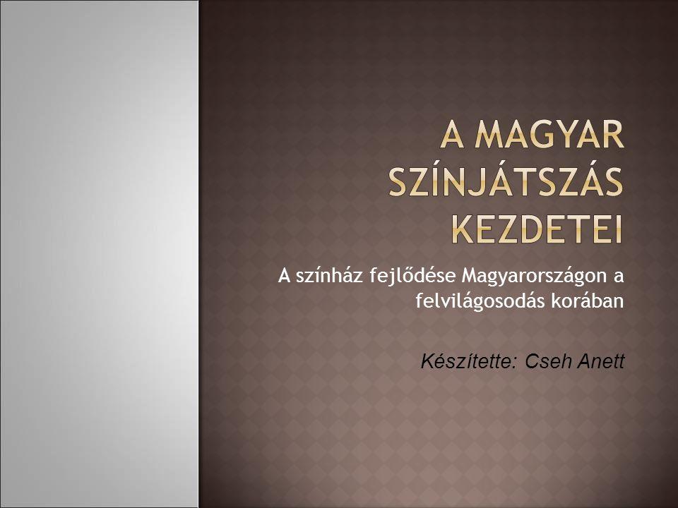 A színház fejlődése Magyarországon a felvilágosodás korában Készítette: Cseh Anett