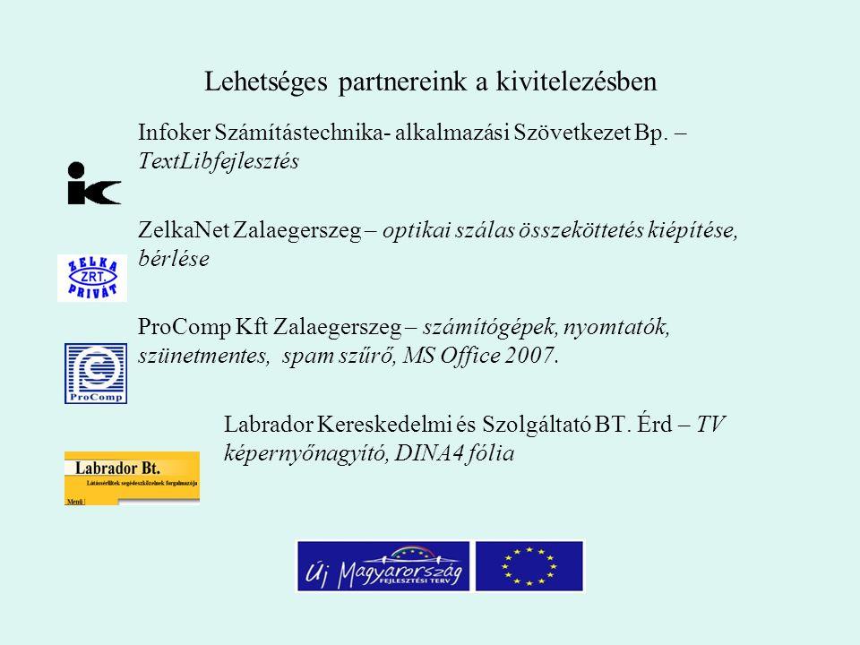 Lehetséges partnereink a kivitelezésben Infoker Számítástechnika- alkalmazási Szövetkezet Bp.