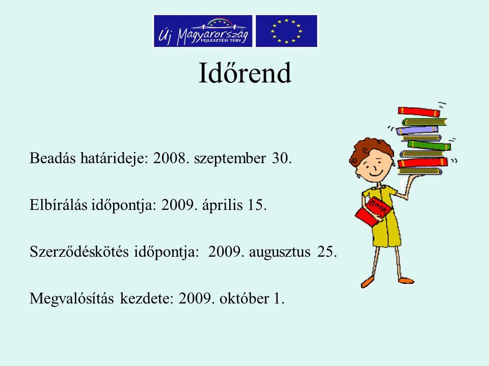 Időrend Beadás határideje: 2008. szeptember 30. Elbírálás időpontja: 2009.