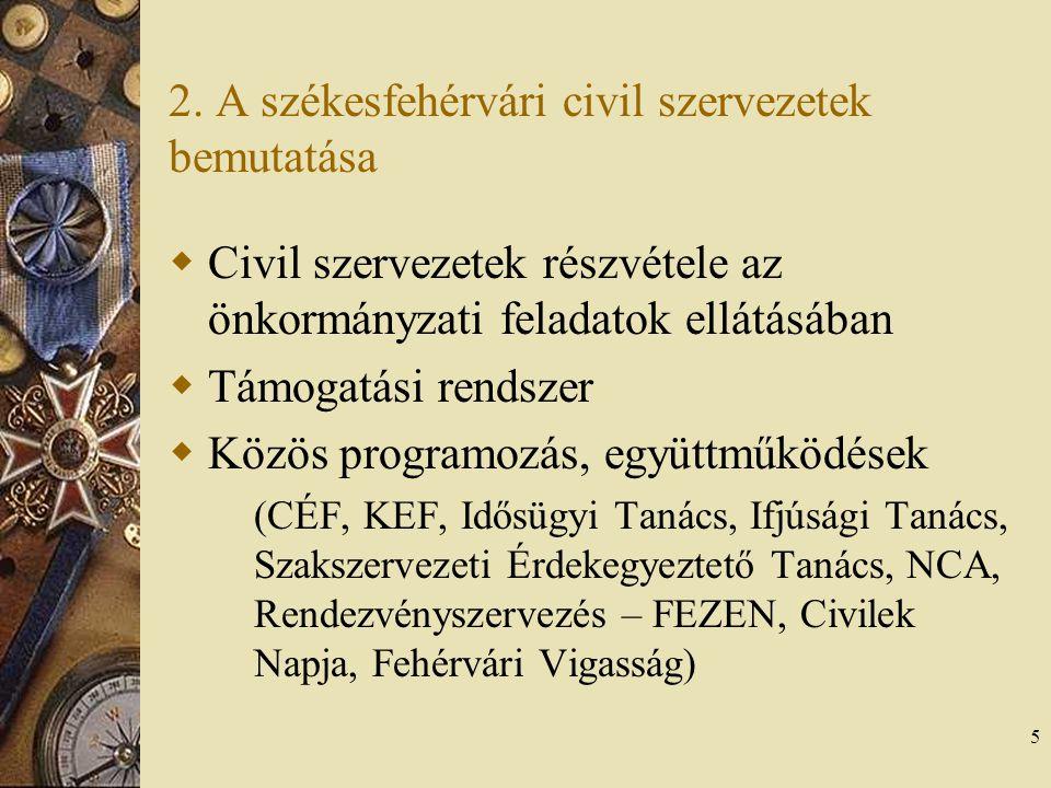 5 2. A székesfehérvári civil szervezetek bemutatása  Civil szervezetek részvétele az önkormányzati feladatok ellátásában  Támogatási rendszer  Közö