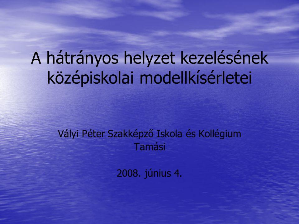 A hátrányos helyzet kezelésének középiskolai modellkísérletei Vályi Péter Szakképző Iskola és Kollégium Tamási 2008. június 4.