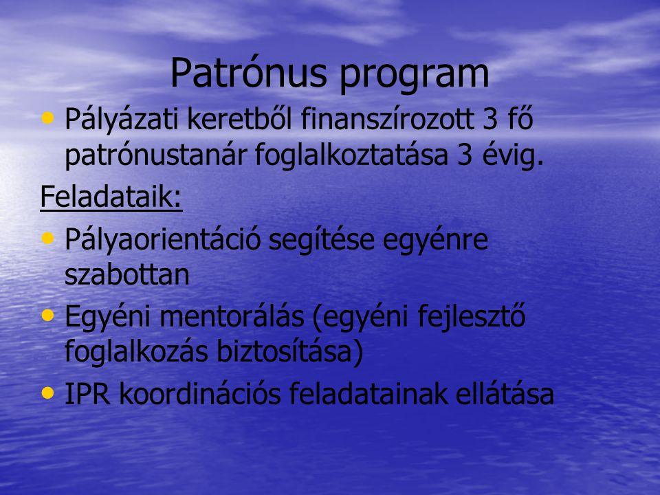 Patrónus program • • Pályázati keretből finanszírozott 3 fő patrónustanár foglalkoztatása 3 évig. Feladataik: • • Pályaorientáció segítése egyénre sza