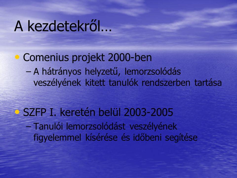 A kezdetekről… • • Comenius projekt 2000-ben – –A hátrányos helyzetű, lemorzsolódás veszélyének kitett tanulók rendszerben tartása • • SZFP I.