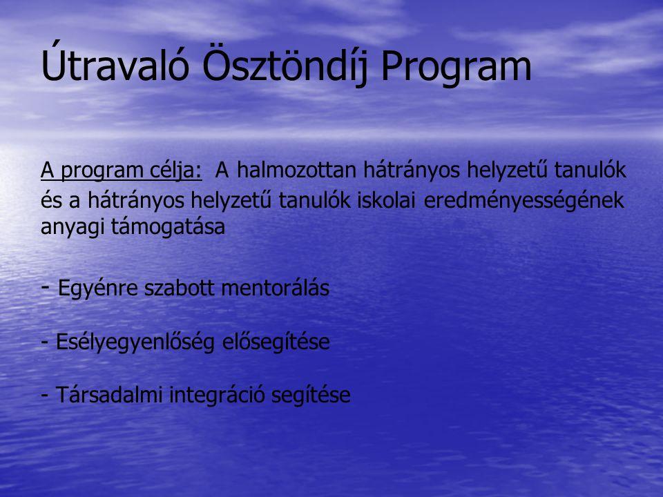 Útravaló Ösztöndíj Program A program célja: A halmozottan hátrányos helyzetű tanulók és a hátrányos helyzetű tanulók iskolai eredményességének anyagi támogatása - Egyénre szabott mentorálás - Esélyegyenlőség elősegítése - Társadalmi integráció segítése