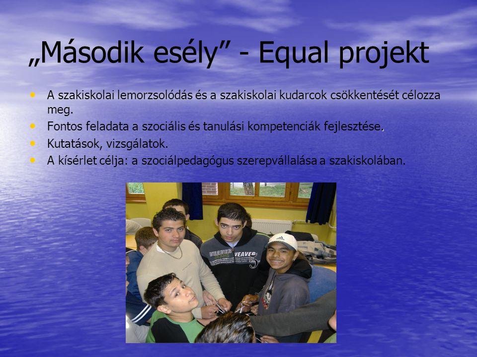 """""""Második esély - Equal projekt • • A szakiskolai lemorzsolódás és a szakiskolai kudarcok csökkentését célozza meg."""