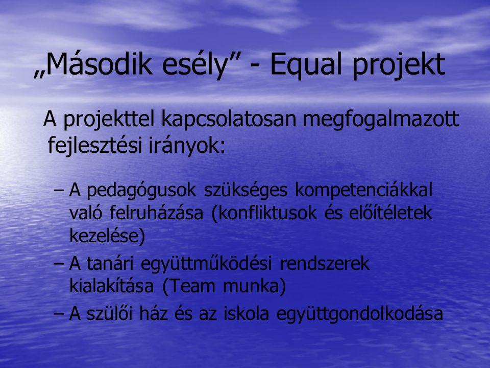"""""""Második esély - Equal projekt A projekttel kapcsolatosan megfogalmazott fejlesztési irányok: – –A pedagógusok szükséges kompetenciákkal való felruházása (konfliktusok és előítéletek kezelése) – –A tanári együttműködési rendszerek kialakítása (Team munka) – –A szülői ház és az iskola együttgondolkodása"""