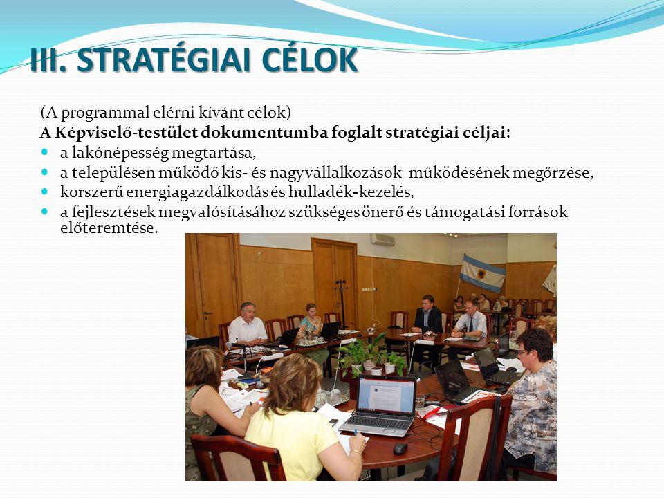III. STRATÉGIAI CÉLOK (A programmal elérni kívánt célok) A Képviselő-testület dokumentumba foglalt stratégiai céljai:  a lakónépesség megtartása,  a