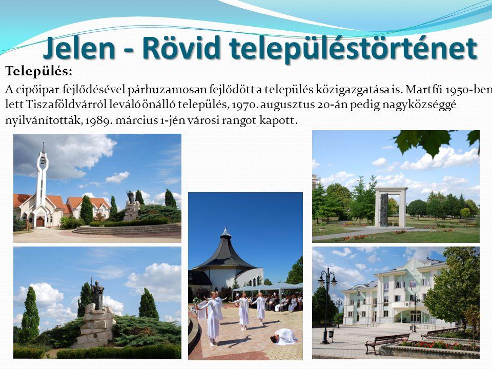 Jelen - Rövid településtörténet Település: A cipőipar fejlődésével párhuzamosan fejlődött a település közigazgatása is. Martfű 1950-ben lett Tiszaföld