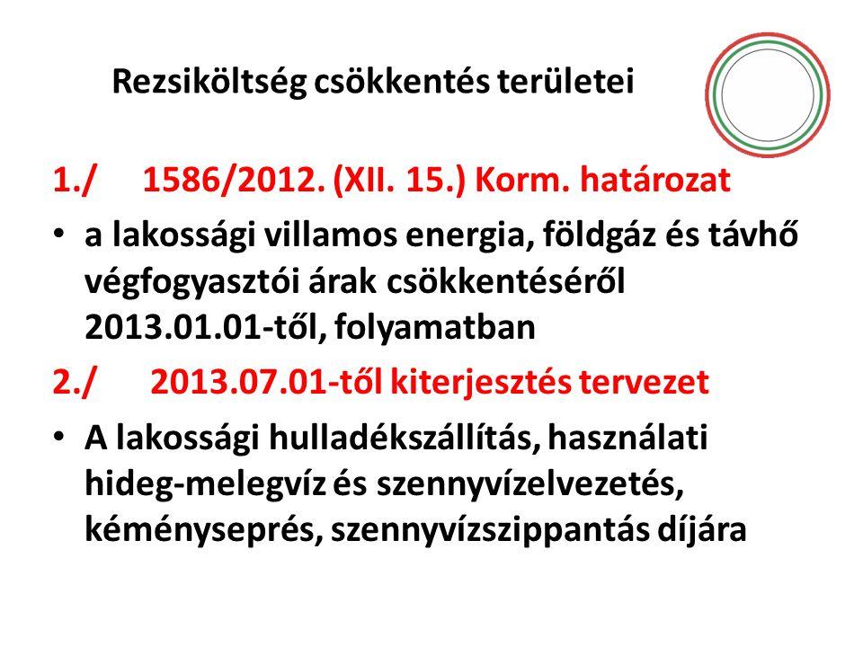 Rezsiköltség csökkentés területei 1./ 1586/2012. (XII. 15.) Korm. határozat • a lakossági villamos energia, földgáz és távhő végfogyasztói árak csökke