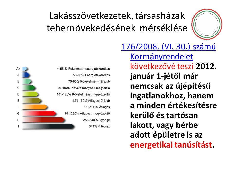Lakásszövetkezetek, társasházak tehernövekedésének mérséklése 176/2008. (VI. 30.) számú Kormányrendelet 176/2008. (VI. 30.) számú Kormányrendelet köve