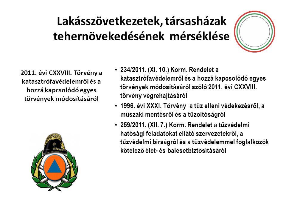 Lakásszövetkezetek, társasházak tehernövekedésének mérséklése • 234/2011. (XI. 10.) Korm. Rendelet a katasztrófavédelemről és a hozzá kapcsolódó egyes