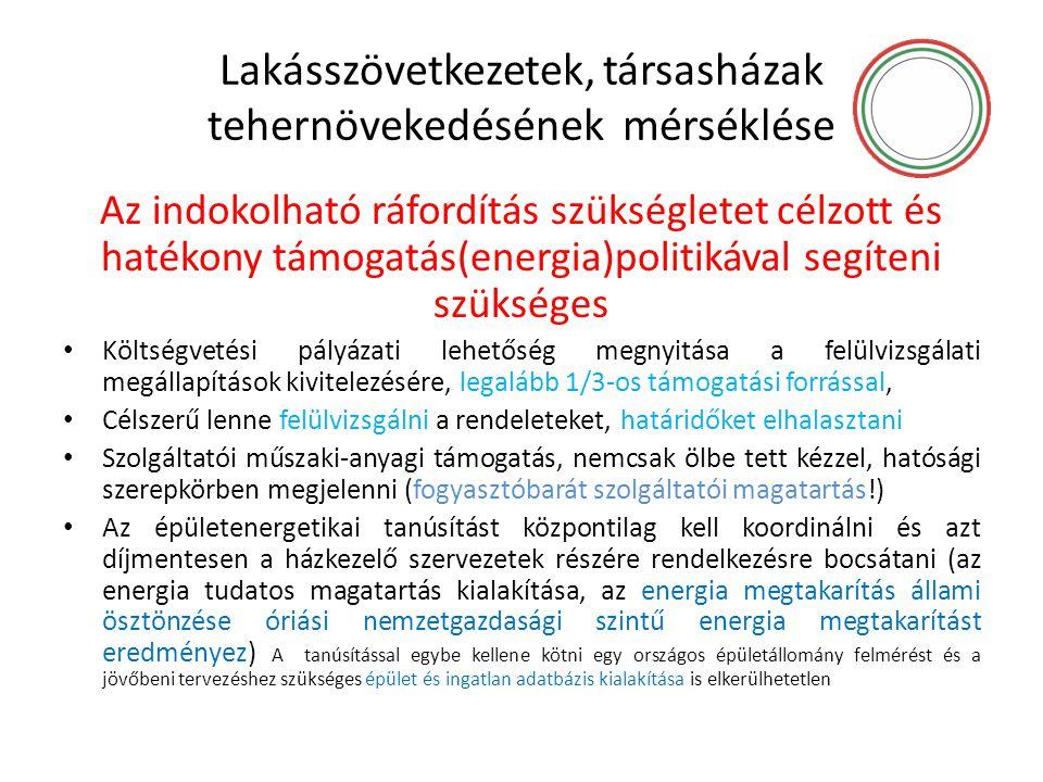 Lakásszövetkezetek, társasházak tehernövekedésének mérséklése Az indokolható ráfordítás szükségletet célzott és hatékony támogatás(energia)politikával