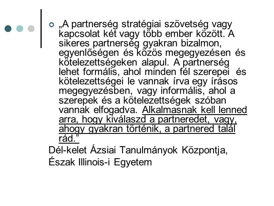 """""""A partnerség stratégiai szövetség vagy kapcsolat két vagy több ember között. A sikeres partnerség gyakran bizalmon, egyenlőségen és közös megegyezése"""