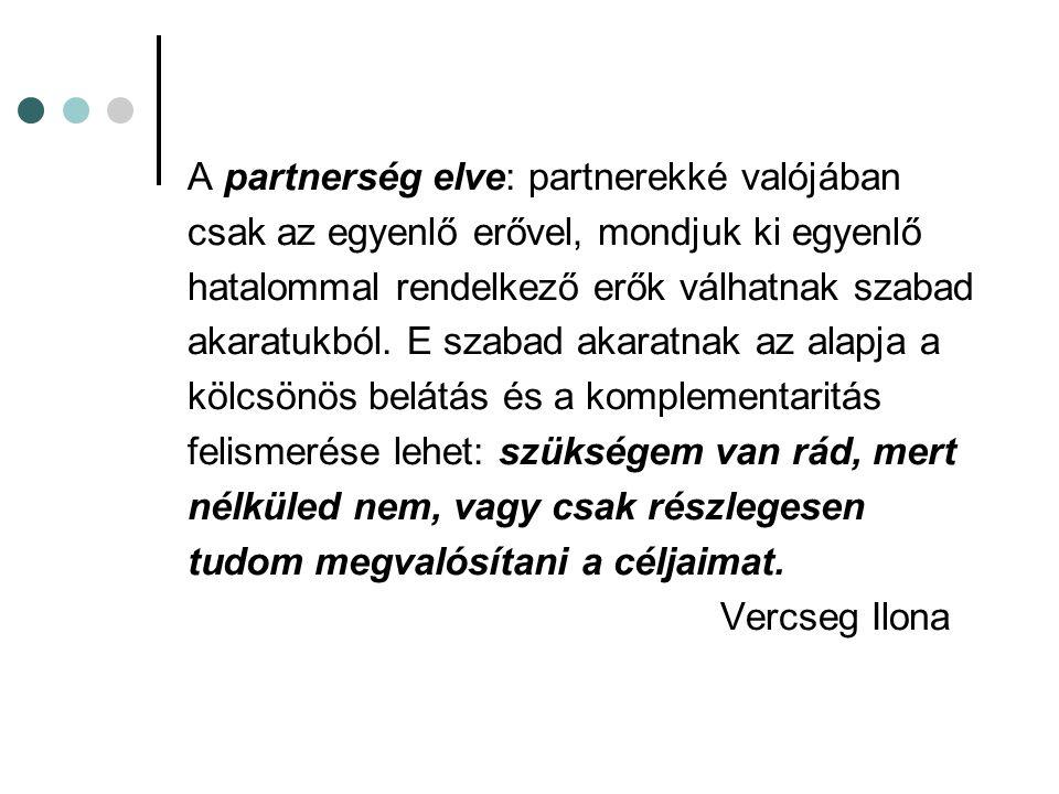 A partnerség elve: partnerekké valójában csak az egyenlő erővel, mondjuk ki egyenlő hatalommal rendelkező erők válhatnak szabad akaratukból. E szabad
