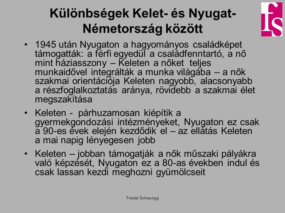 Különbségek Kelet- és Nyugat- Németország között •1945 után Nyugaton a hagyományos családképet támogatták: a férfi egyedül a családfenntartó, a nő min