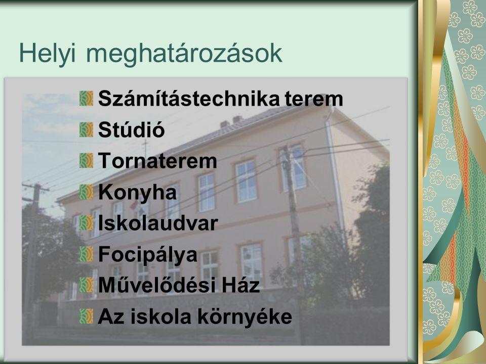 Helyi meghatározások Számítástechnika terem Stúdió Tornaterem Konyha Iskolaudvar Focipálya Művelődési Ház Az iskola környéke