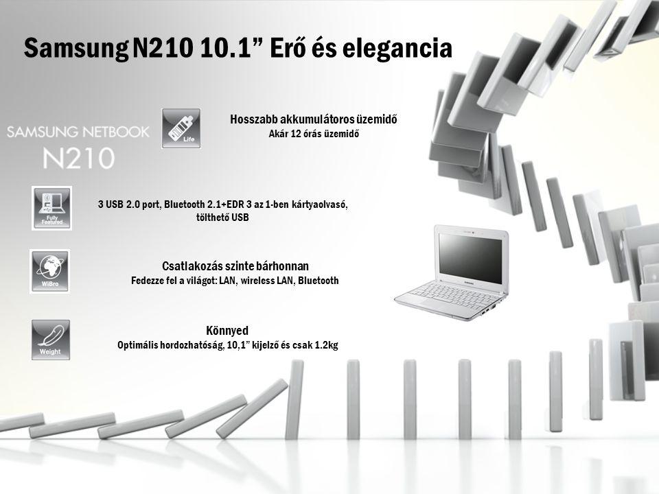 Samsung N210 10.1 Erő és elegancia Hosszabb akkumulátoros üzemidő Akár 12 órás üzemidő Könnyed Optimális hordozhatóság, 10,1 kijelző és csak 1.2kg 3 USB 2.0 port, Bluetooth 2.1+EDR 3 az 1-ben kártyaolvasó, tölthető USB Csatlakozás szinte bárhonnan Fedezze fel a világot: LAN, wireless LAN, Bluetooth