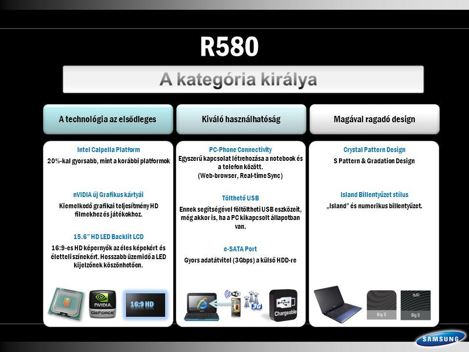 R580 A technológia az elsődleges Kiváló használhatóság Magával ragadó design Intel Calpella Platform 20%-kal gyorsabb, mint a korábbi platformok nVIDIA új Grafikus kártyái Kiemelkedő grafikai teljesítmény HD filmekhez és játékokhoz.
