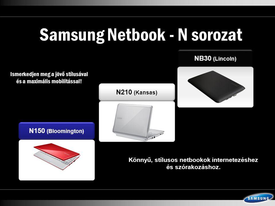 Samsung Netbook - N sorozat N210 (Kansas) N150 (Bloomington) NB30 (Lincoln) Könnyű, stílusos netbookok internetezéshez és szórakozáshoz.