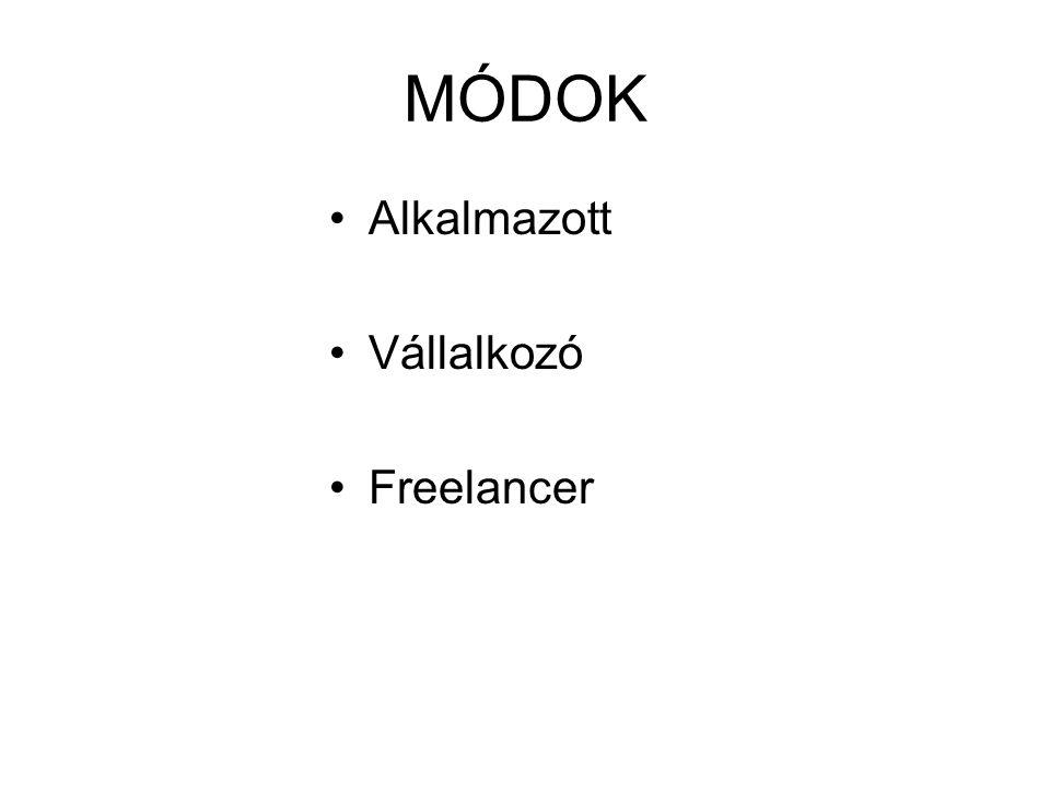 MÓDOK •Alkalmazott •Vállalkozó •Freelancer