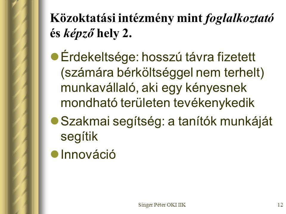 Singer Péter OKI IIK12 Közoktatási intézmény mint foglalkoztató és képző hely 2.