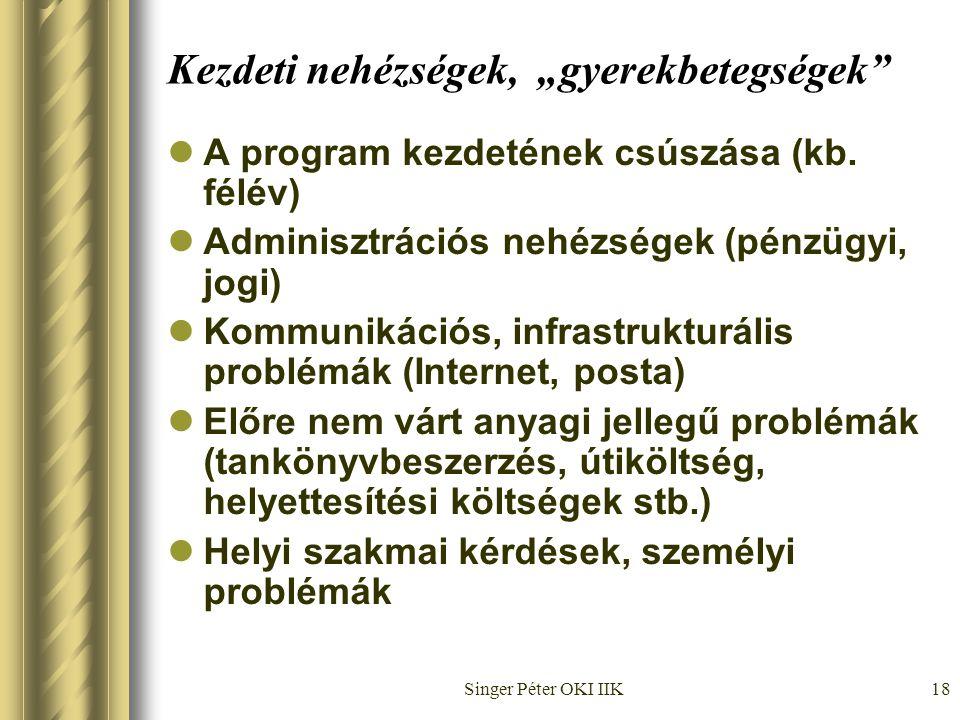 """Singer Péter OKI IIK18 Kezdeti nehézségek, """"gyerekbetegségek  A program kezdetének csúszása (kb."""