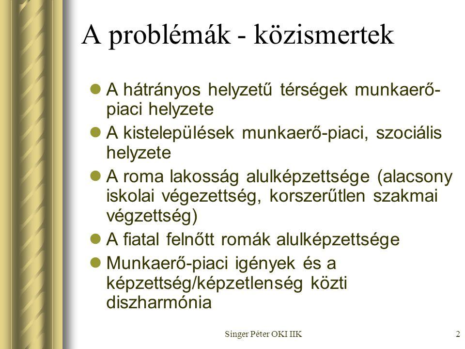 Singer Péter OKI IIK2 A problémák - közismertek  A hátrányos helyzetű térségek munkaerő- piaci helyzete  A kistelepülések munkaerő-piaci, szociális helyzete  A roma lakosság alulképzettsége (alacsony iskolai végezettség, korszerűtlen szakmai végzettség)  A fiatal felnőtt romák alulképzettsége  Munkaerő-piaci igények és a képzettség/képzetlenség közti diszharmónia