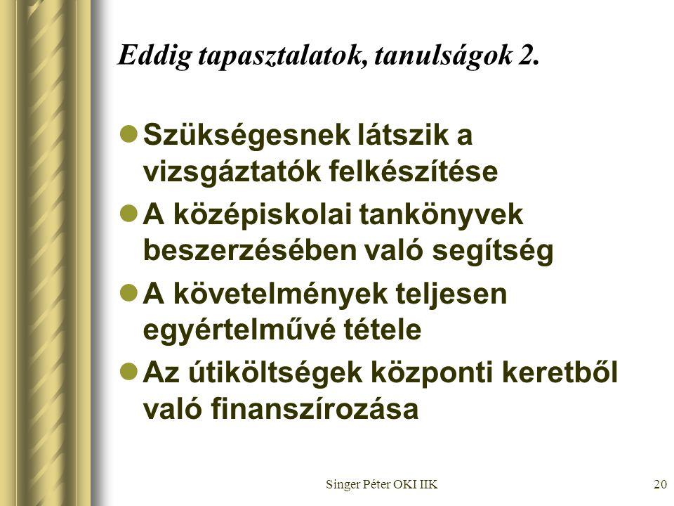 Singer Péter OKI IIK20 Eddig tapasztalatok, tanulságok 2.