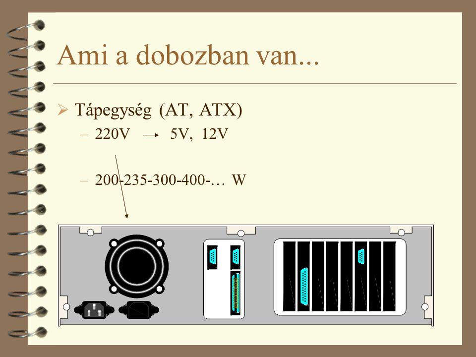 Ami a dobozban van...  Tápegység (AT, ATX) –220V 5V, 12V –200-235-300-400-… W