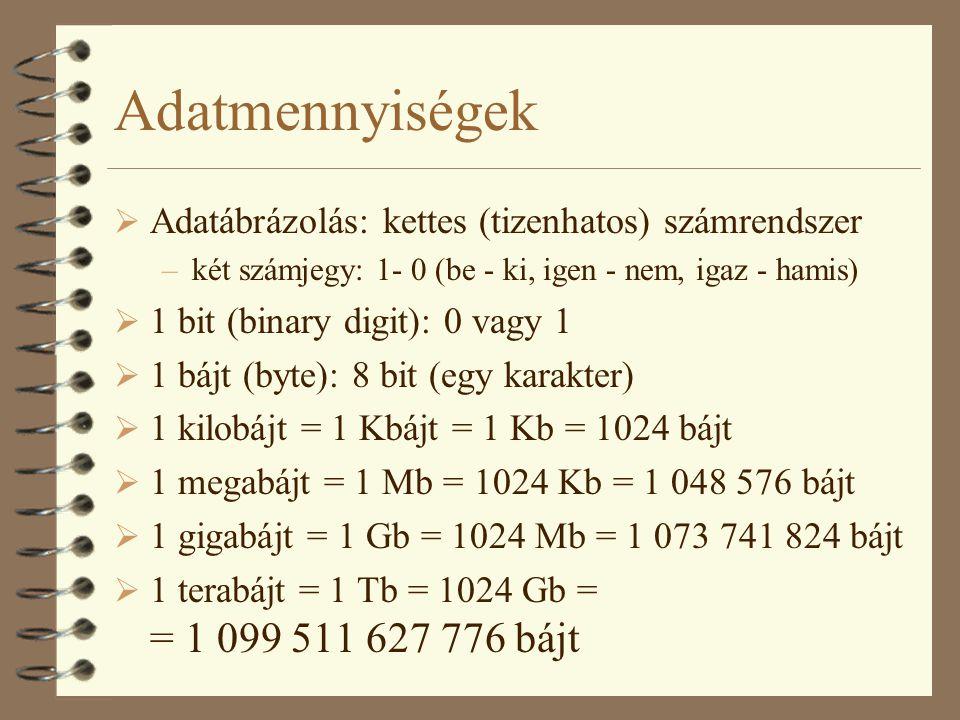 Adatmennyiségek  Adatábrázolás: kettes (tizenhatos) számrendszer –két számjegy: 1- 0 (be - ki, igen - nem, igaz - hamis)  1 bit (binary digit): 0 va