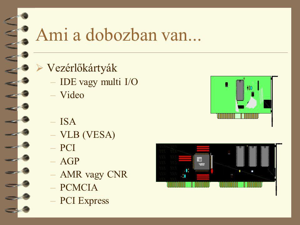 Ami a dobozban van...  Vezérlőkártyák –IDE vagy multi I/O –Video –ISA –VLB (VESA) –PCI –AGP –AMR vagy CNR –PCMCIA –PCI Express